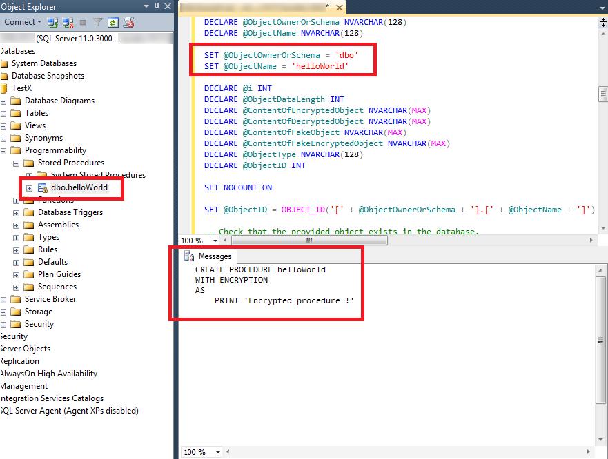 Déchiffrement d'objet MSSQL Server 2012 via une procédure stockée