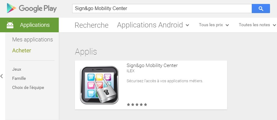 Applicatoin Sign&go Mobility Center disponible sur GooglePlay