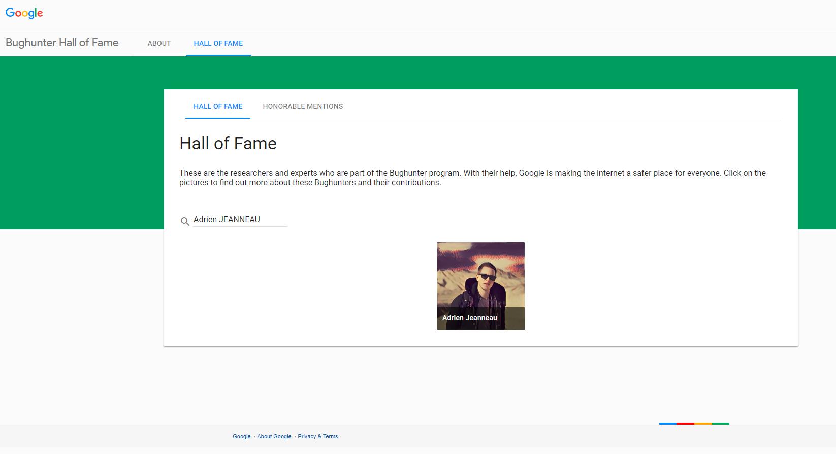 Google Hall of Fame